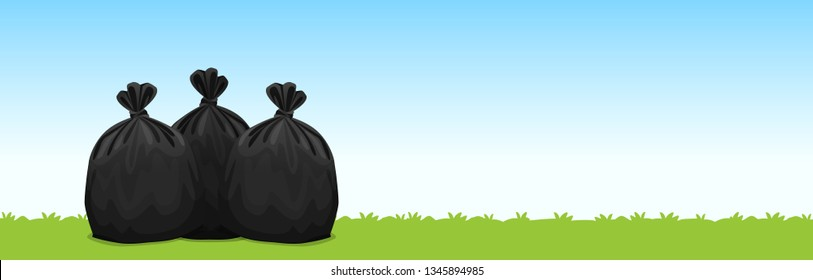 three black plastic garbage bags on the grass blue sky background, garbage bags for waste, pollution plastic bag waste, 3r ad, waste plastic bags and copy space for banner advertising background