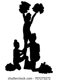 Three black silhouettes of girls cheerleaders on a white background. Sports, cheerleading, split. Girls from support group, cheerleading.