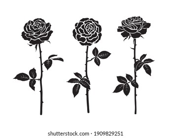Three black silhouettes of rose flowers with leaves and stems. Roses blooming from bud to fully open flower. Vector illustration isolated on white background.