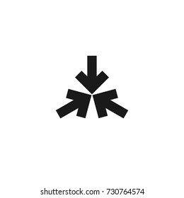 Three black squared arrows point to the center. Triple Collide Arrows icon. Merge Directions icon. Vector illustration. Isolated on white. back and white