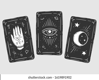 Three black tarot cards. Magic occult set of tarot cards. Engraving vector illustration. Cards isolated on white background for poster, sticker, template.