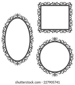 Three black vintage frames in different shapes isolated on white background