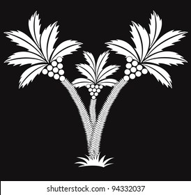 three black and white palms.vector