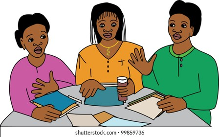 Three black women in a business meeting at a round table