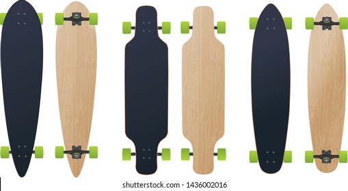 Three blank different longboard skateboard model vector illustration