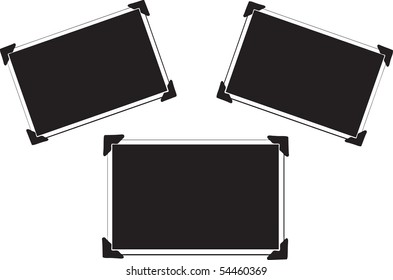 Three Blank Vector Picture with photo corners