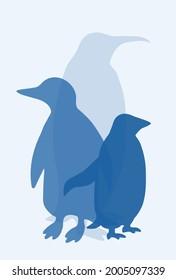 Three blue penguins, editable simple vector illustration