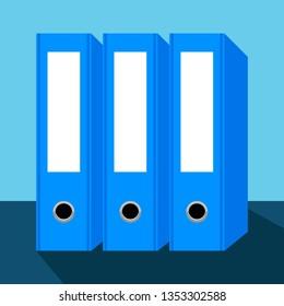 three blue ring binders