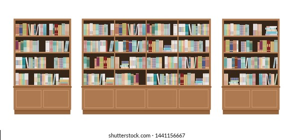 Three bookcases full of books. Isolated on white background. Education library and bookstore concept.  Vector illustration.