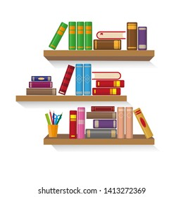 Three bookshelves with different colorful books. Education or bookstore concept. Vector illustration.