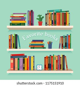 Three bookshelves with favorite books, watches, flowers and pencils. concept of library. vector illustration isolated on a light background