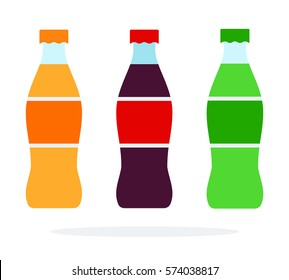Three bottles with soda vector flat material design isolated on white