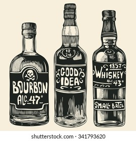 three bottles with strong alcohol. hand drawn design element. engraving style. vector illustration