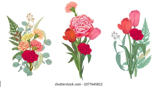 Three bouquets red, pink, yellow flowers and greenery: carnation, peony, tulip, green leaves fern, eucalyptus on white background, hand draw, colorful engraving vintage sketch style, botanical vector