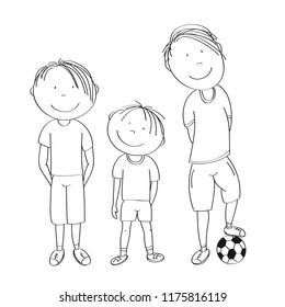Three boys with ball, ready to play football / soccer - original hand drawn illustration