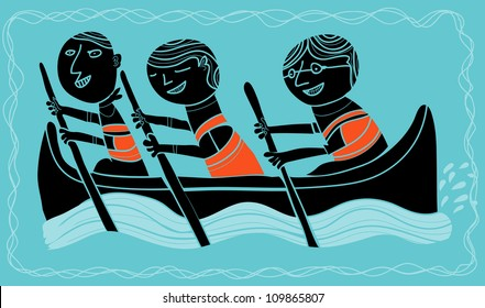 three boys in a canoe