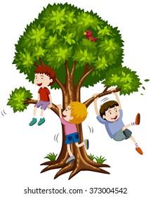 Three boys climbing the tree illustration