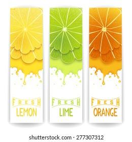 Three bright banner with stylized citrus fruit and splashes. Lemon, lime and orange fresh juice