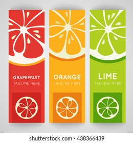 Three bright banner with stylized citrus fruit. Grapefruit, lime and orange isolated on pattern background. Fresh juice advertisement. Summer fresh drink. Healthy vitamin. Vector