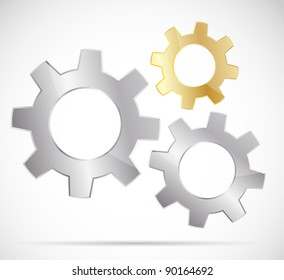 Three bright gears on gray background