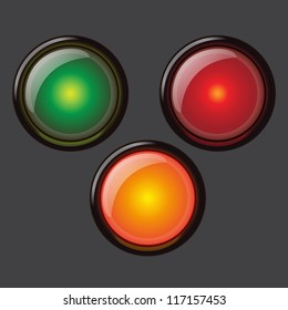 three bright vector of a button similar to a traffic light