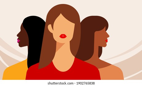 Three bright women - brunette, brown haired, red haired. Multi-ethnic female friends stand together. Colorful vector. Female team concept. Best friends forever, sisters, beautiful abstract girls.
