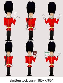 Three British Soldiers with weapon, English dictionary, welcome sign, cup of tea and peace sign  . Honorary royal guard, Beefeaters vector set.