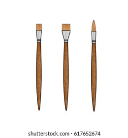 Three brown brushes on a white background.