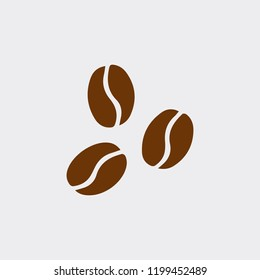 Three brown coffee beans vector