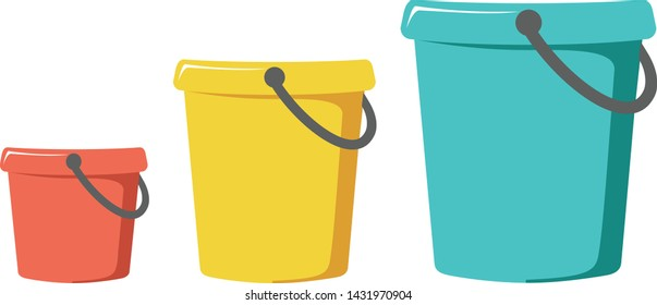 Three buckets on a white background red, yellow and blue
