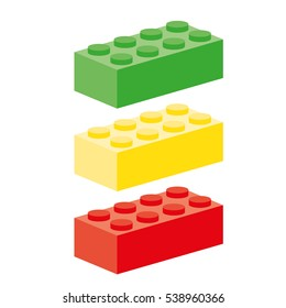 Three building block in red, green and yellow as traffic light