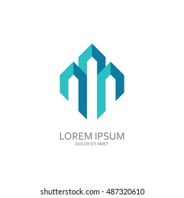 Three buildings directed up. Abstract logo template construction company.
