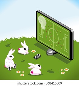 Three bunnies on a blooming meadow watching soccer on tv (isometric illustration)