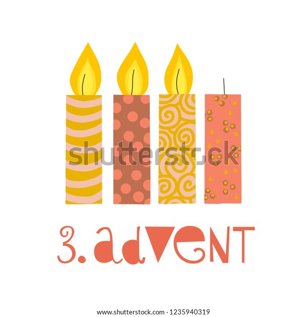 Three burning advent candles vector illustration. Third sunday in advent. 3. Advent german text. Flat Holiday design with candles on white background. For greeting Holiday card, poster, Christmas