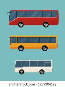 Three buses isolated on blue background. Concept of public transport. Flat style. Vector illustration.