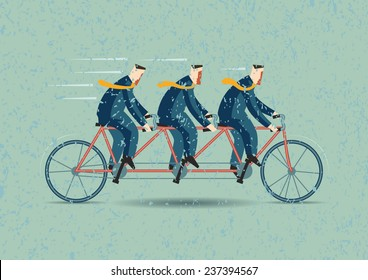 Three businessman riding tandem bicycle, Teamwork concept