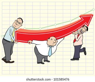 Three businessmen and arrow graph