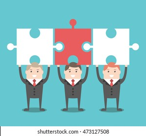 Three businessmen standing holding puzzle pieces above head. Teamwork, solution and cooperation concept. Flat design. EPS 8 vector illustration, no transparency