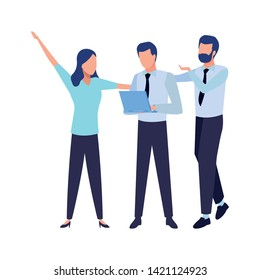 three businesspartners working with laptop and office supplies colorful isolated faceless avatar vector illustration graphic design