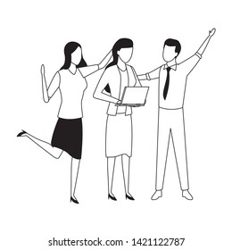 three businesspartners working with office supplies in black and white isolated faceless avatar vector illustration graphic design