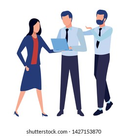 three businesspartners working with office supplies colorful isolated faceless avatar vector illustration graphic design