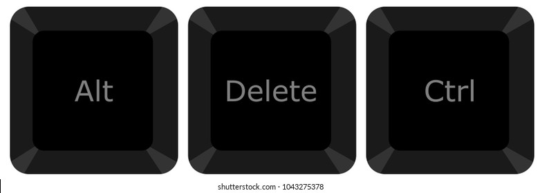 Three buttons for fix computer hanging problem,vector illustration
