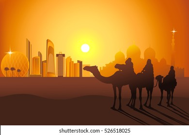Three camel riders at the sunset in the desert on the Abu-Dhabi background vector illustration