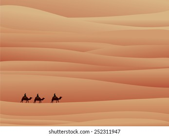 three camel in sands