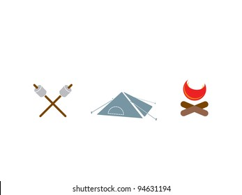 Three camping icons. Marshmallows on sticks, tent and camp fire.
