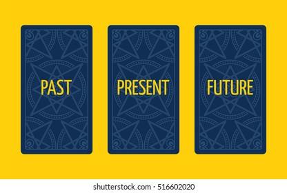 Three card tarot spread. Divination about past, present and future. Tarot cards reverse side