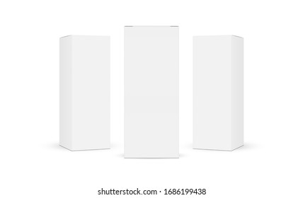Three cardboard rectangular packaging boxes mockups isolated on white background. Vector illustration