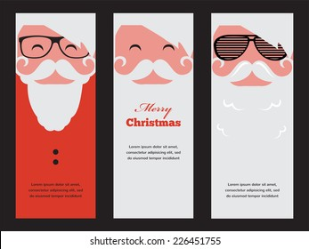 three cards  of fashion silhouette hipster style Santa Claus