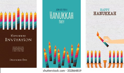 three cards for jewish holiday , hanukkah. illustration