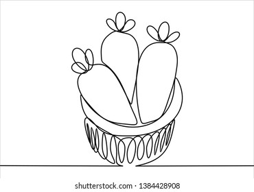 Three carots. Vegetables. Continuous line